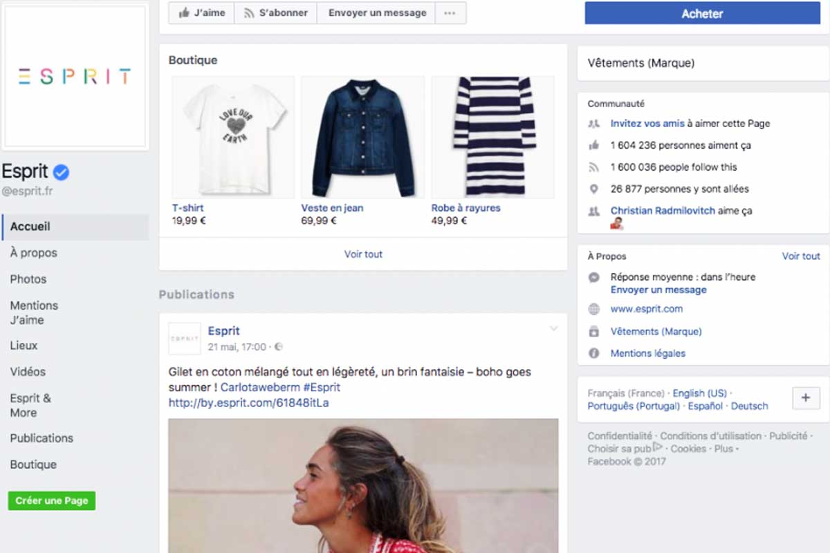 Facebook vente en ligne